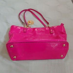 Michael kors hot pink patent leather tote bag EUC